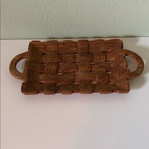 VINTAGE WOODEN BASKET WOVEN LOOK TRAY
